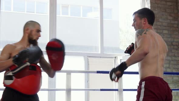Thumbnail for Handsome Shirtless Mma Fighter Training with His Coach at the Gym