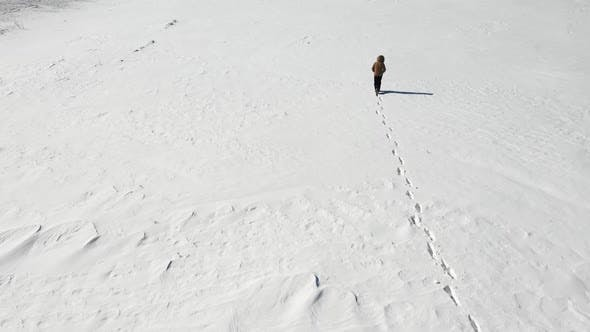 Thumbnail for Lonely Man Walking in the Snowy Arctic Desert