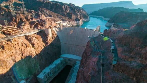 Thumbnail for Timelapse aerial shot of Hoover Dam with lens flare