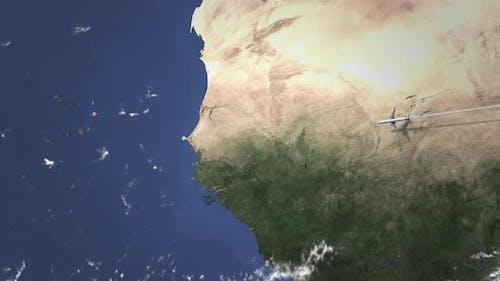 Airplane Flying to Dakar Senegal on the Map