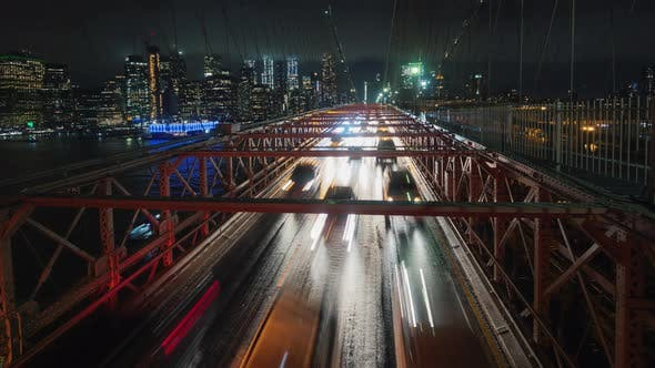 Cover Image for Traffic Cars Over the Brooklyn Bridge