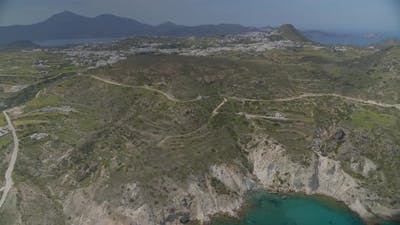 Aerial View of Mountains and Sea Milos Greece
