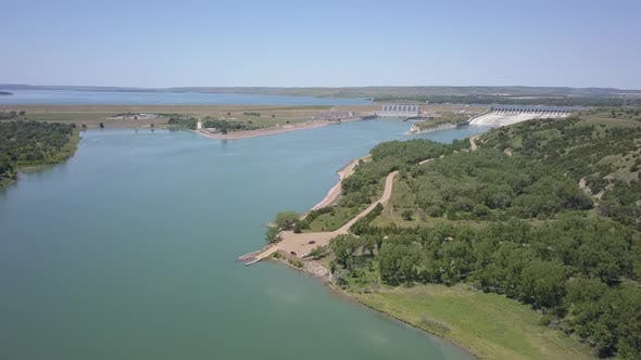 Thumbnail for Aerial of Missouri River Dam Hydroelectric Impoundment Reservoir Fort Randall