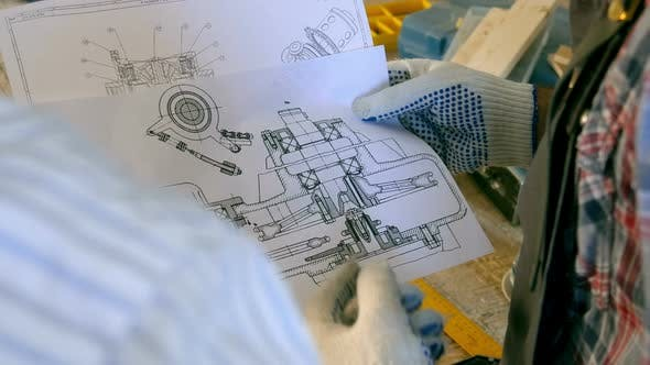 Thumbnail for Two Carpenter View Drawings in Workshop