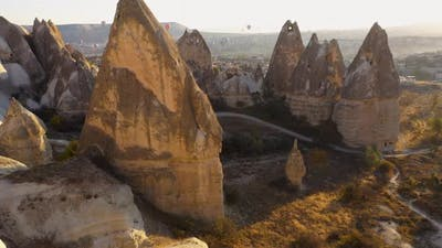 View of Stone Formations in Cappadocia Valley