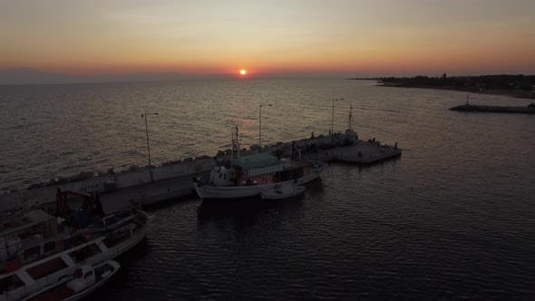 Thumbnail for Aerial Seascape with Quay. View at Sunset
