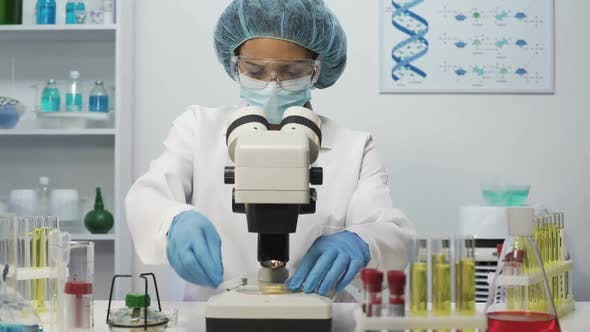 Thumbnail for Mixed Race Laboratory Scientist Doing Medical Research, Looking Into Microscope