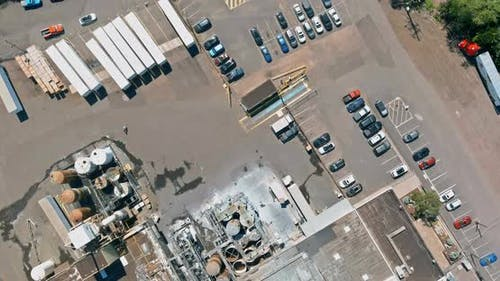 Aerial Top View System Chemical Industry with of Detail of a Heavy Chemical Industrial Plant