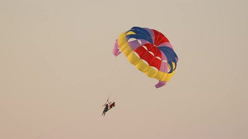 Parasailers Flying On Colorful Parachute In Sunset Or Sunrise Sky