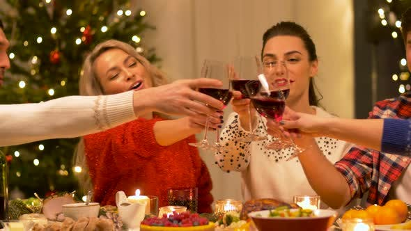 Thumbnail for Happy Friends Drinking Red Wine at Christmas