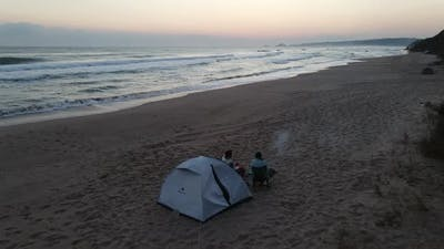 Camping Fire Morning Drone