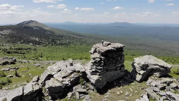 Aerial View Large Granite Boulders and Rocks