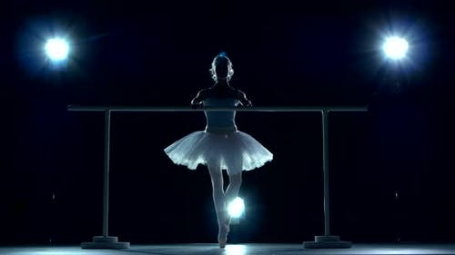 Classic Ballet Dancer in White Tutu Posing on Handle Bar