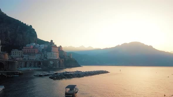 Iconic Atrani Aerial By Dawn, Amalfi Coast
