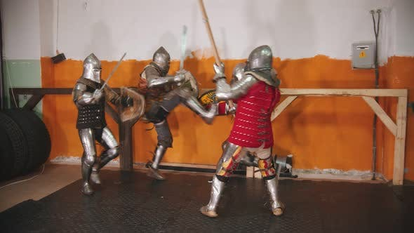Thumbnail for Four Men Knightes Having a Training Fight
