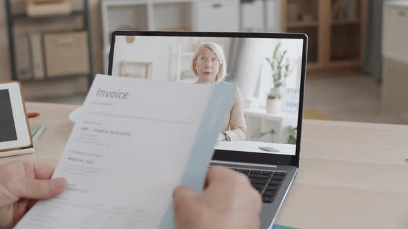 Thumbnail for Unrecognizable Person Video Calling Senior Woman