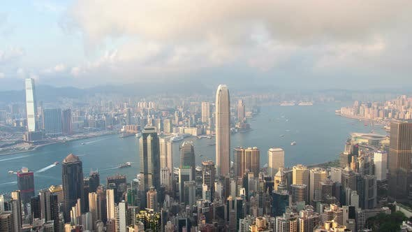 Thumbnail for Timelapse Modern Hong Kong Buildings Surround Calm Sea Bay