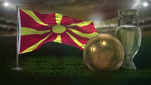 Macedonia Flag With Football And Cup Background Loop