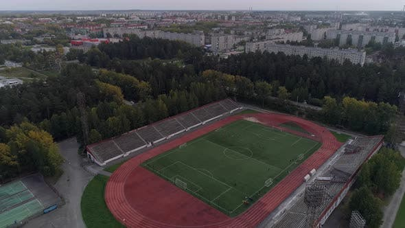 Aerial View of Open-air Sports Facilities in small town