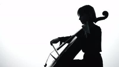 Musician Playing the Cello. Silhouette