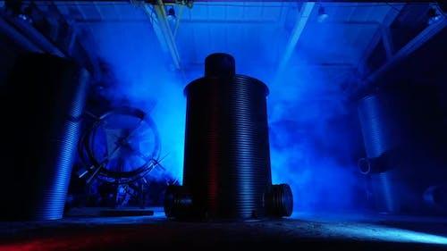 Metal Sewer Barrels Indoors.