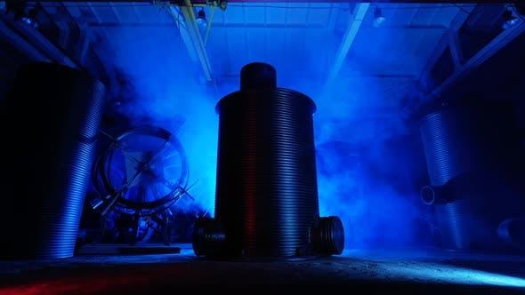 Thumbnail for Metal Sewer Barrels Indoors.