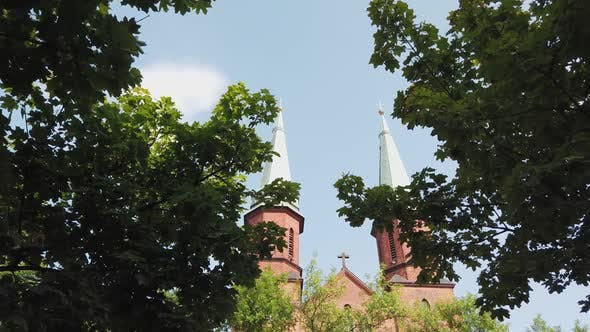 Thumbnail for Two Large Domes of the Catholic Church with the Cross on Roof.