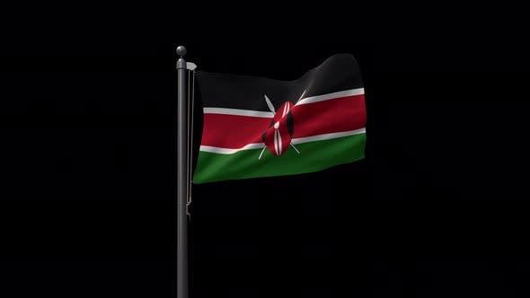 Kenya Flag On Flagpole With Alpha Channel 4K