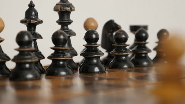Thumbnail for Detailed chess set figures arranged on  table close-up 4K 2160p 30fps UltraHD  footage - Black playe
