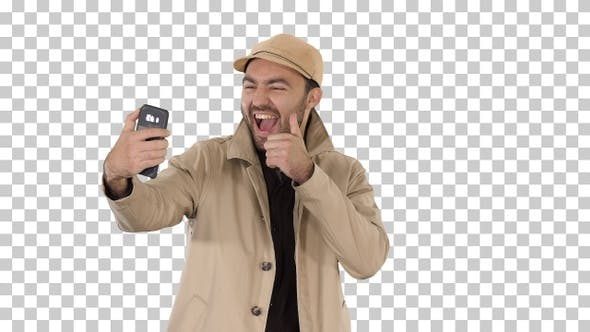 Thumbnail for Young Adult Man Handsome Taking Selfie, Alpha Channel