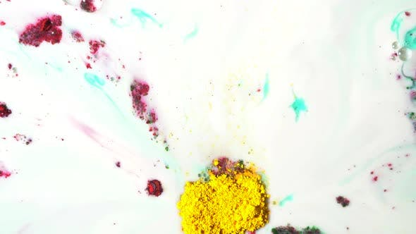 Thumbnail for Colorful Powder Ink Flowing On Milk