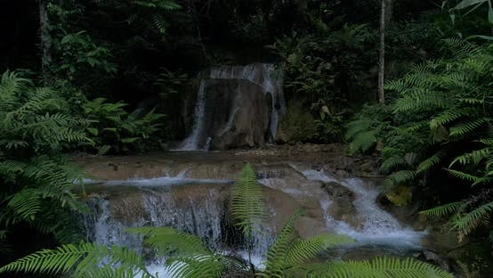 Mountain rainforest waterfalls and crystal clear water