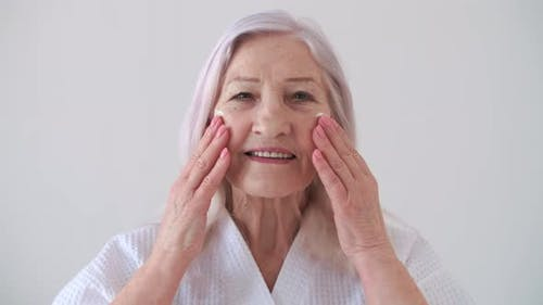 Skin Care Senior Woman Home Cosmetics Elderly Age Cosmetic Procedures