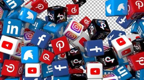 Social Media Icons Transition - Facebook, Linkedin, Twitter, Youtube, Instagram, Pinterest, Tiktok