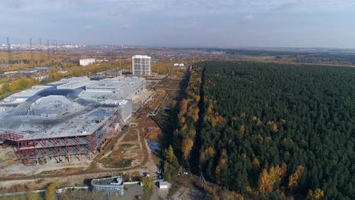 Aerial view of Construction of a shopping complex and an industrial building 06