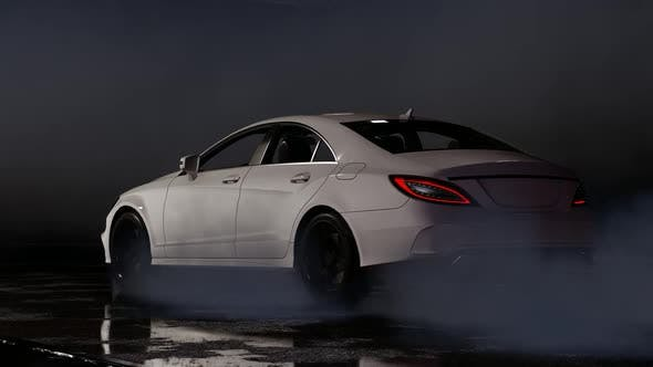 Thumbnail for Luxury Sports White Car Drifting Falling From Above