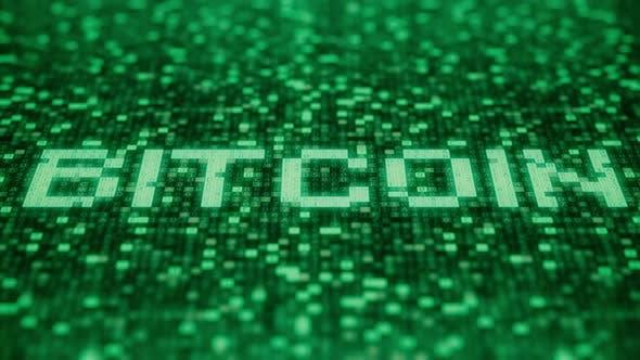 Thumbnail for Blinkende Symbole auf einem grünen Bildschirm Verfassen BITCOIN Word