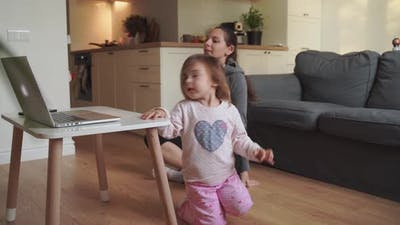 Online Fitness Lesson for Mother and Child. Sports Activity at Home with Children. Quarantine Covid
