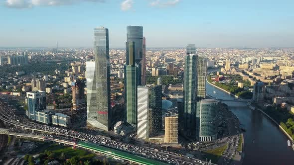 Thumbnail for Aerial Moscow Cityscape with Business Centre, River and Heavy Traffic