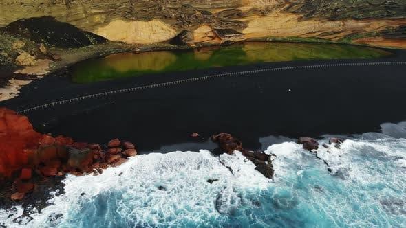 Black Beach El Golfo on Lanzarote, Canary Islands, Spain