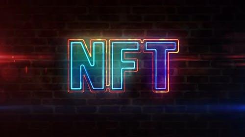 NFT crypto art symbol neon on brick wall