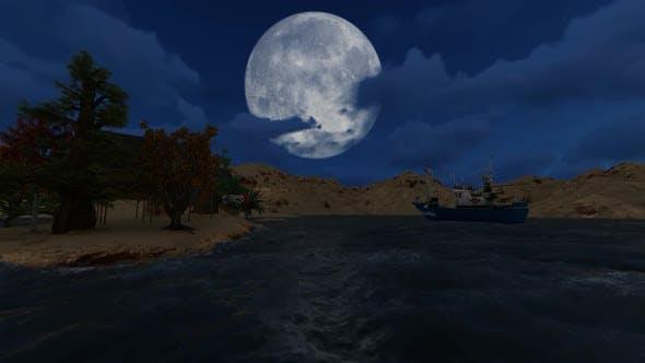 Thumbnail for Panorama de pleine lune et de nuages la nuit