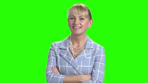 Elegant Business Woman on Green Screen.
