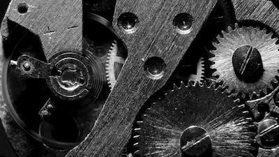 Watch Mechanism Macro loop.Old Vintage Clock Mechanism Working