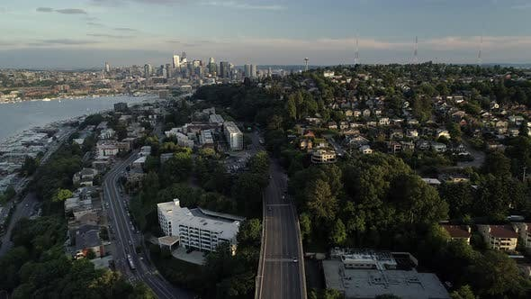 Thumbnail for Aerial Of Downtown Seattle Neighborhoods With City Skyline In Background