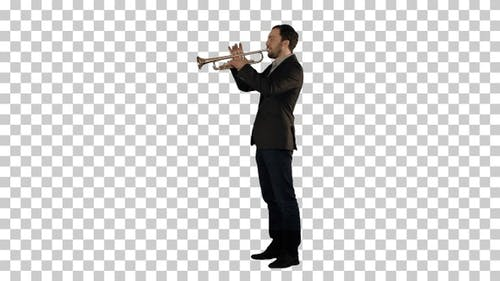Man standing and trumpet melody., Alpha Channel