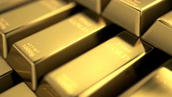 Thumbnail for Close Up View of Fine Gold Bars Stacked into Stairs