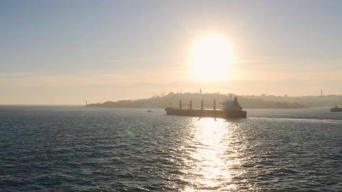 Istanbul Bosphorus And Cargo Ship