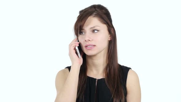 Cover Image for Young Girl Answering Phone Call, White Background