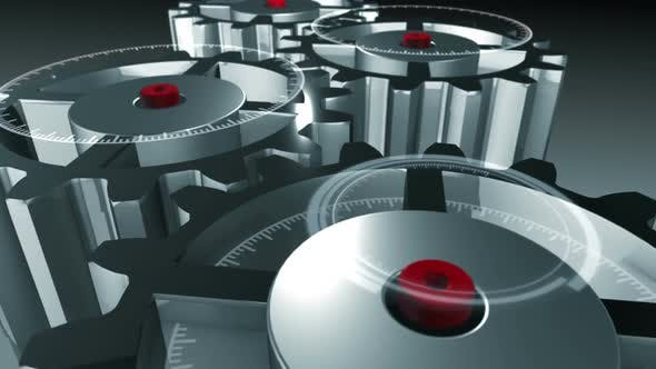 3D metallic gear cogwheels and HUD elements rotating